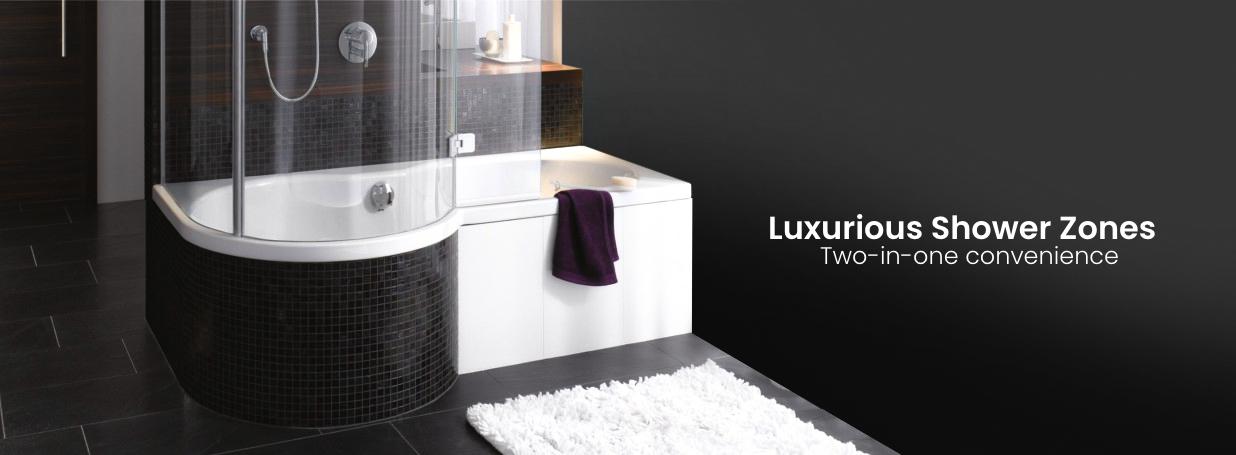 baignoires avec zone de douche