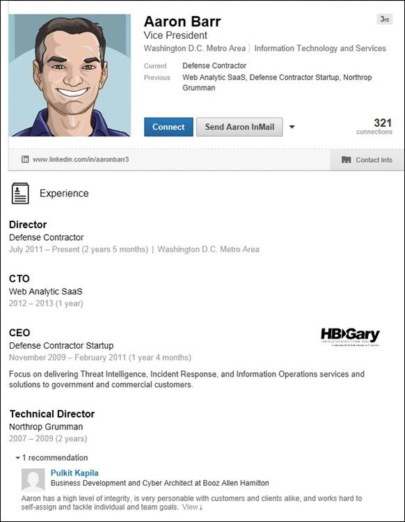 Yaacov Apelbaum - HBGary's Aaron Barr Hacked Linkedin-After