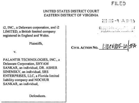 Yaacov Apelbaum i2 Palantir lawsuit