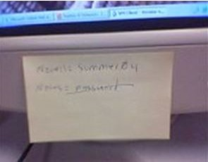 8-User Passwords Written on a Sticky Pad