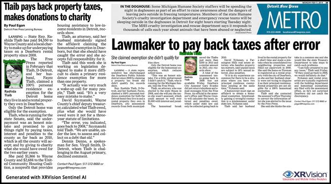 Rashida Tlaib Failure to pay taxes