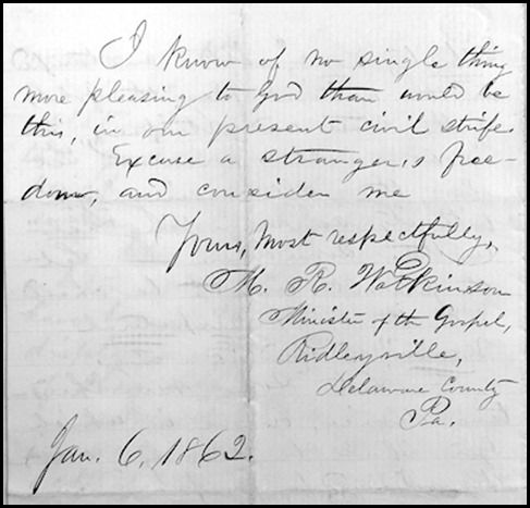 Rev. Watkinson second letter to the Secretary of the treasury Chase