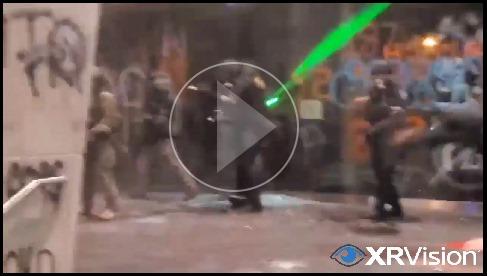 US Marshall Service under fireworks and laser attacks