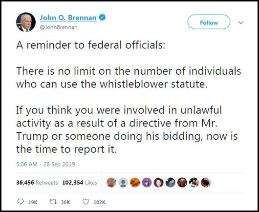 John Brennan calling all whistleblowers
