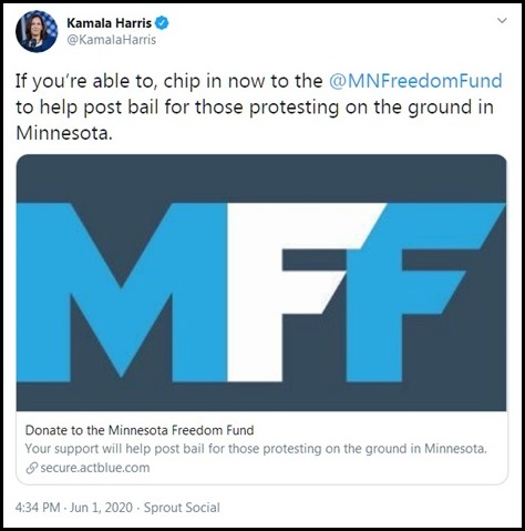 Kamala Harris riot funding