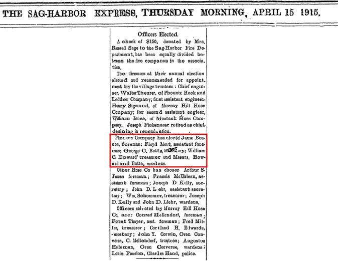 A13  4-15-1915 William Howard Fire Department Treasurer Clip