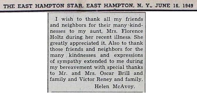 A30  6-16-1949 Helen S. McAvoy Bereavement Clip
