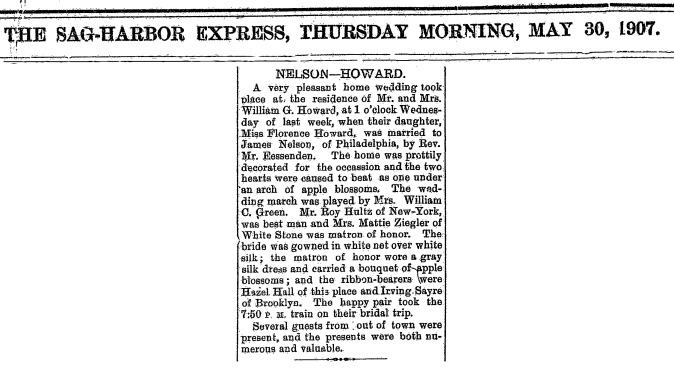 A9  5-30-1907 Florence Marries Nelson Clip