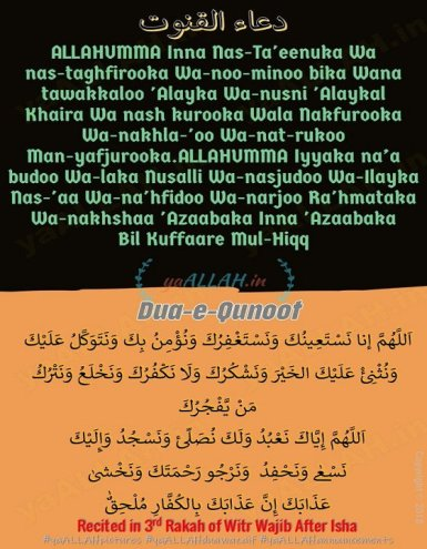 Dua Qunoot Text in English Arabic Hindi With Translations - yaALLAH in