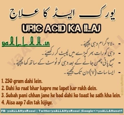 Wazifa for Uric Acid-Uric Acid Ki Dua-Treatment-Desi Ilaj