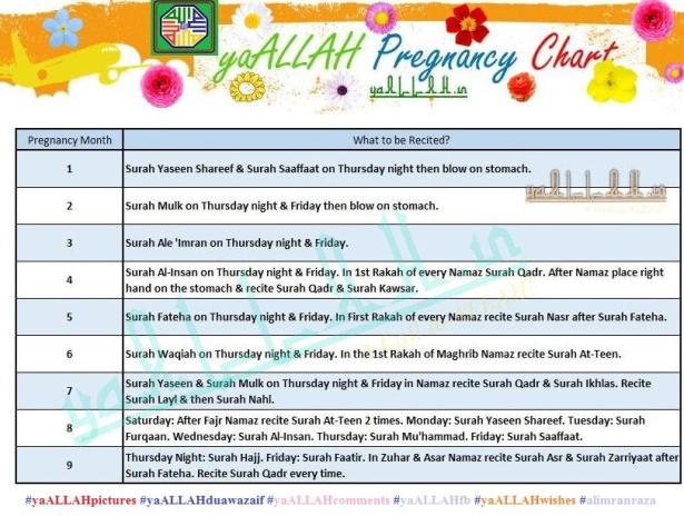 month by month pregnancy chart in islam-yaALLAH.in