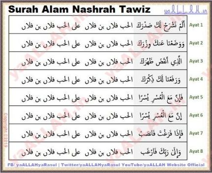 Surah Alam Nashrah tawiz wazifa for love marriage