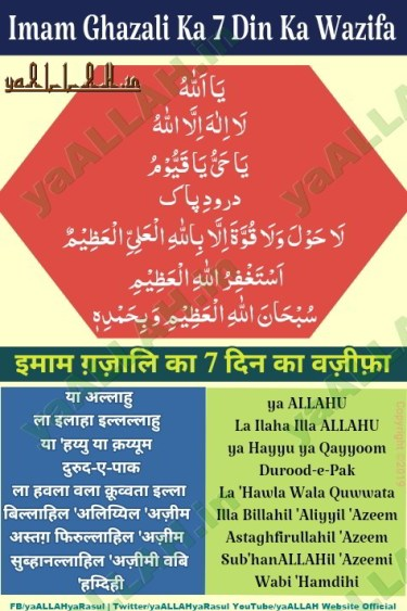 Hazrat Imam Ghazali ka wazifa in hindi