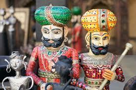 Inde Rajasthan personnages en bois peint