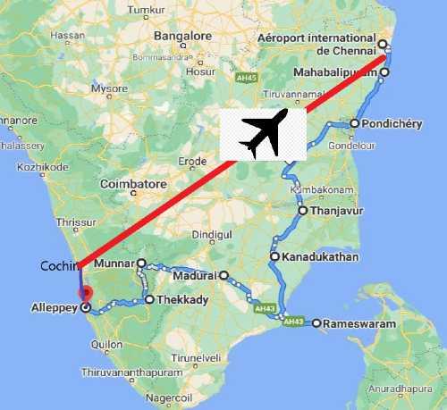 Carte routière Inde du sud