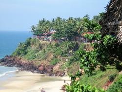 Falaise de cocotiers avec plage en bas