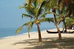Plage de sable, barque et cocotier