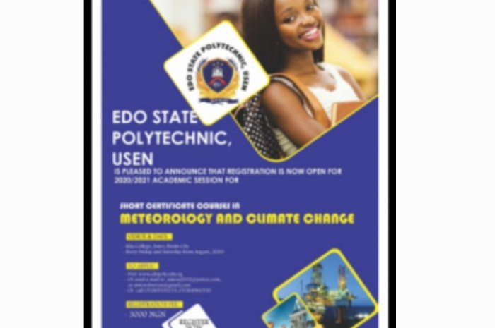Edo Poly Meteorology And Climate Change Short Course Admission For 2020/2021