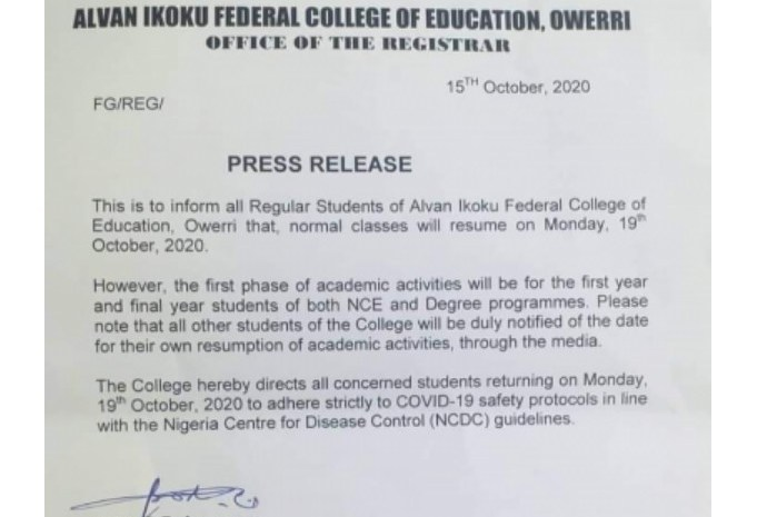 Alvan Ikoku Federal College of Education Announces Resumption Date For Completion of 2019/2020 Session