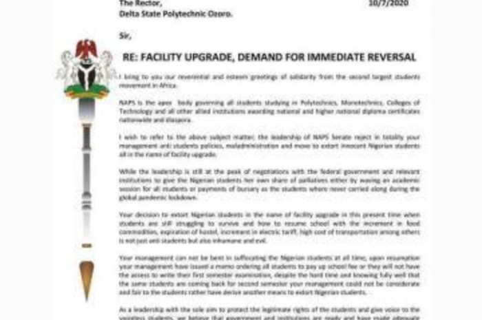 NAPS Writes To Management of Delta Poly Ozoro Seeking Reversal of Fees For Facility Upgrade