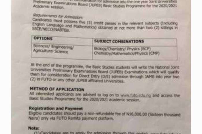 FUTO JUPEB Application Form for 2020/2021 Released