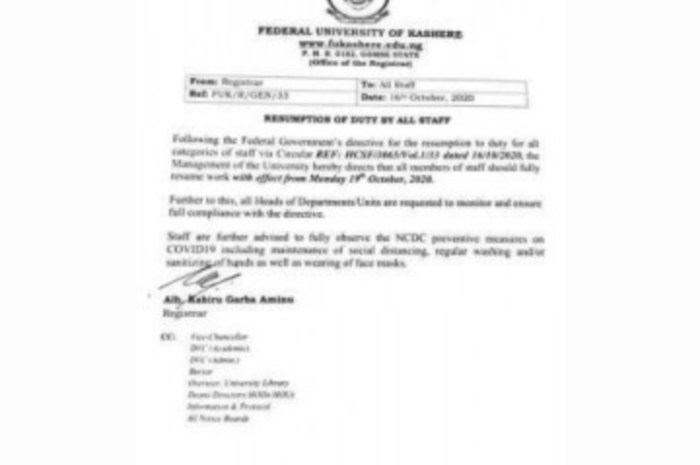 Federal University Kashere Announce Resumption Date For Staff