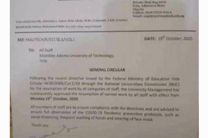 MAUTECH Announce Resumption Date For Staff