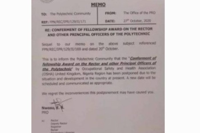FedPoly Nekede Issues Notice of Award Postponement