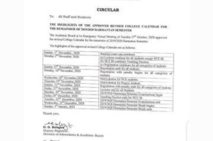 Adeyemi College of Education Ondo (ACEONDO) Academic Calendar for 2019/2020 Academic Session [REVISED]