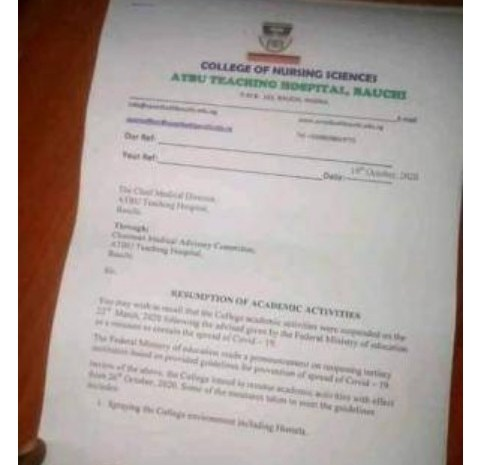ATBUTH College of Nursing Science Announce Resumption Date