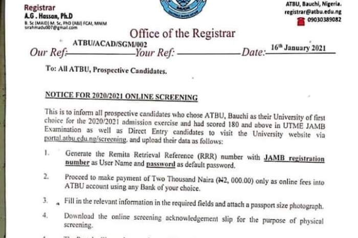 Abubakar Tafawa Balewa University (ATBU) Post UTME Screening Form for 2020/2021 Academic Session Is Out [See How To Apply]