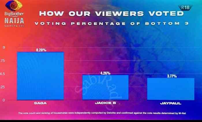 #BBNaija: How viewers voted for the 'bottom 3' housemates
