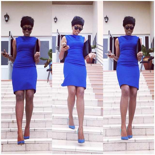 yvonne nelson steps out in blue outfit