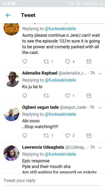 funke akindele's epic response fan