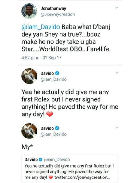 Davido Acknowledges