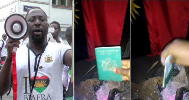 IPOB Member Burns His National Passport And Voters Card; Says He Ceases To Be Nigerian. (VIDEO