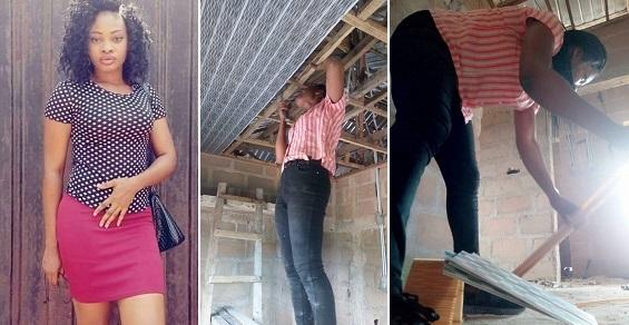Nigerian lady fixes PVC ceiling
