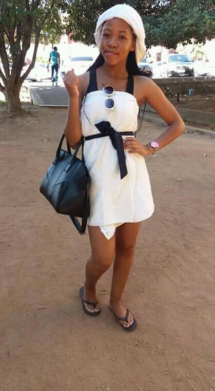 Female University student rocks towel