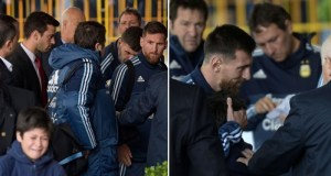 lionel messi rescue tearful young fan
