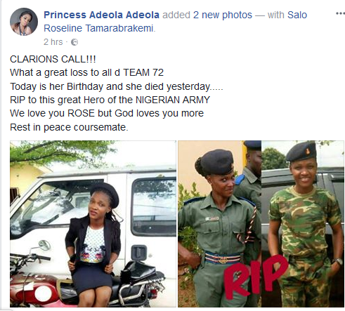 Female soldier dies