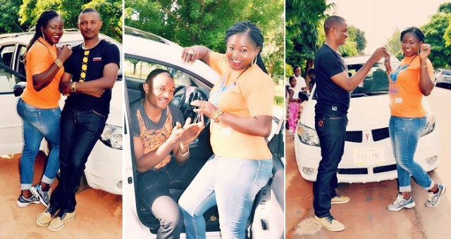 Delighted Nigerian Lady Flaunts Car Gift