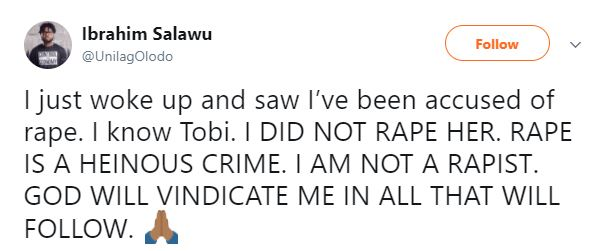 Ibrahim 1 - Rape and Beg allegation: Blogger Unilagolodo petitions Lagos State police