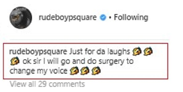 Paul Okoye replies fan