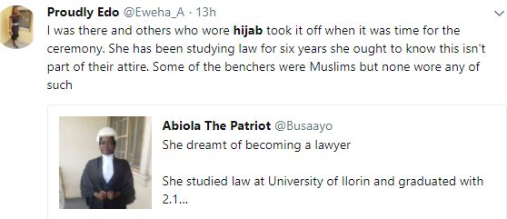 Firdaus3 - Nigerians Debate Over Nigerian Law School's Refusal To Call Muslim Lady To Bar Because She Had Her Hijab Tucked Into Her Collarette.
