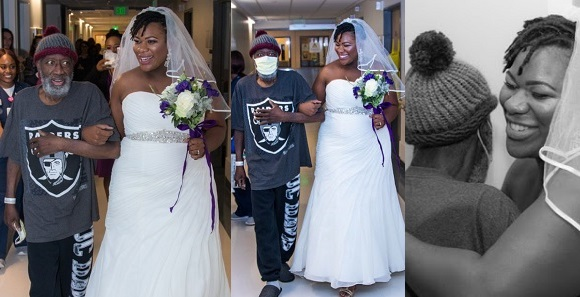 Lady who held her wedding in the hospital because of her sick dad, reveals he has died