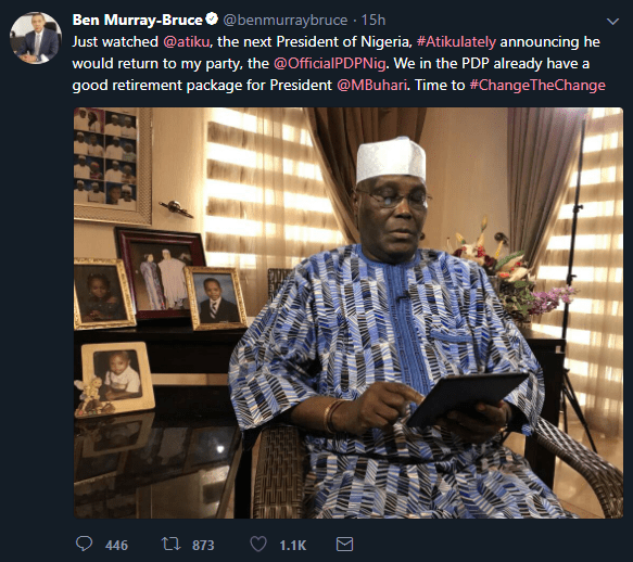 Ben Bruce Reacts Atiku's Return