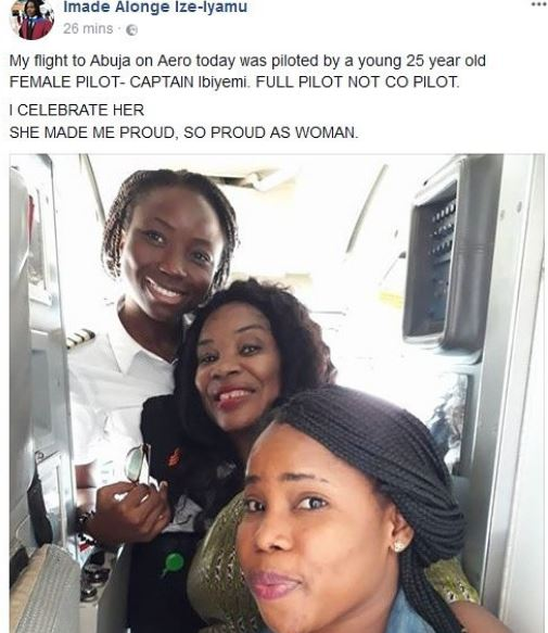 female pilot - Woman Celebrates 25 Year Old Lady Pilot Who Flew Her To Abuja.