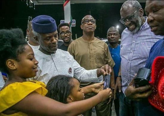 Yemi Osinbajo visits filling station