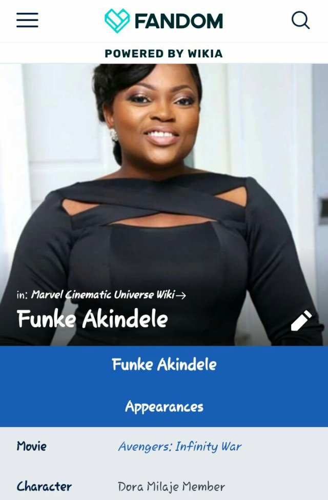 "Funke Akindele-Bello to feature in MArvel's ""Avengers: Infinity War"""