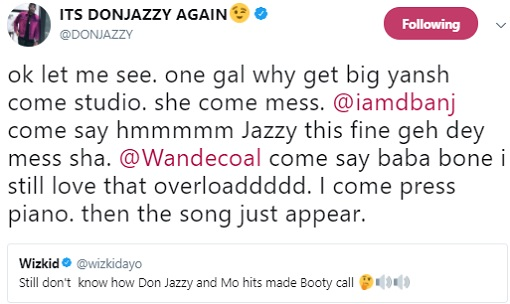don jazzy replies wizkid on booty call
